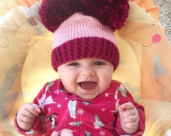 Double Pom Pom beanie, baby kids women pom pom hat, knit pom pom beanie, baby shower gift, newborn photo prop