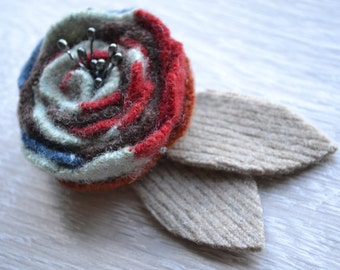 Handcrafted Felt Brooch - Rose with Style
