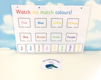 Learn colour words, matching game, EYFS, KS1, early learning, home schooling, color words, visual learners, teaching resource