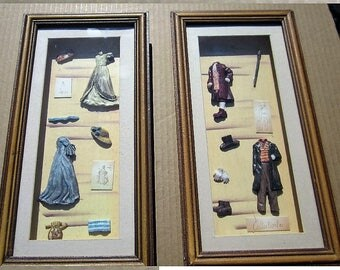 2 Shadow Boxes Two Victorian Era-Lahies And Men's Clothing
