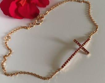 14k rose gold Ruby sideway cross bracelet