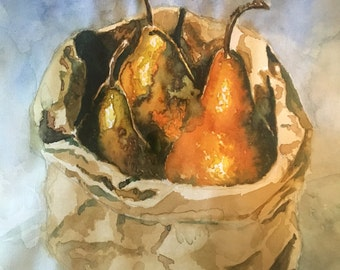 Original watercolor painting, Pears in a paper bag