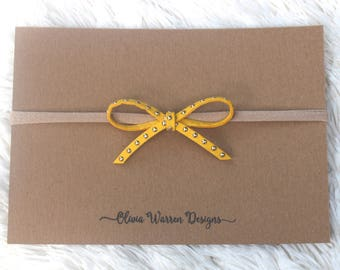 Yellow studded bow; yellow leather bow; gold studded bow; leather bow; bow headband