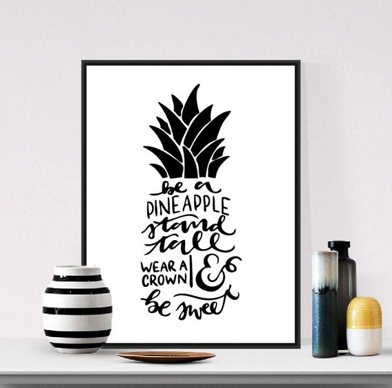 Black Crown Wall Decor : Pineapple wear a crown poster wall decor black and white
