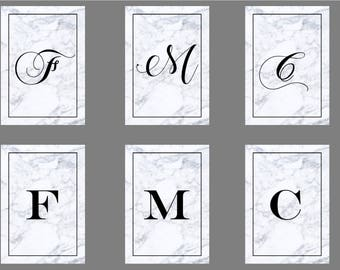 Marble Effect Initials // A-Z // Typography // Print // Wall Art // Home Decor // Custom