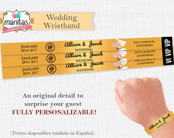 40 pack - Beautiful Wedding Gold-like Wristbands - Guest Gift - Wedding Ideas - Custom Wristband -  Wedding Invitation - Wedding Dress