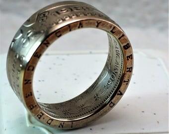 1982 Mexican 20 Pesos coin ring - Copper- Nickel
