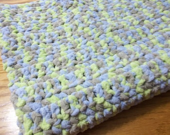 Blue/Lime/Gray Chenille Baby Blanket