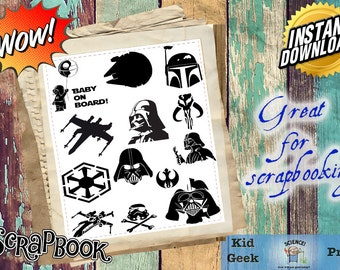 Star Wars silhouette PNG Clip Art! Great for scrapbooking!