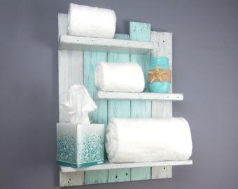 Coastal Bathroom Shelving Over The Toilet – Reclaimed Wood Rolled Bath Towel Rack – Chunky Bathroom Wall Shelves–Coastal Decor Open Shelves