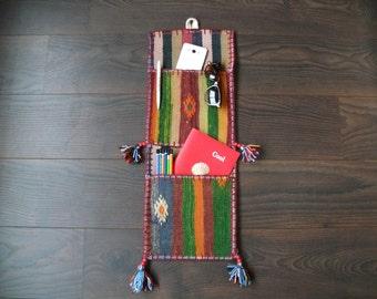 woven wall hanging / lunar weaving / tissage wall art 9x25 inches
