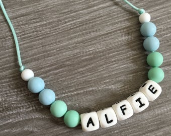 Personalised name silicone teething necklace, jewellery, new baby, baby shower gift, sensory toy, breastfeeding, baby wearing
