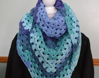 Granny Triangle scarf.  One scarf worn 4 ways!