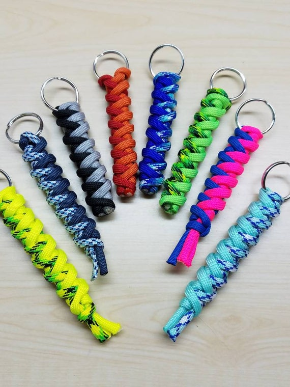 Paracord keychain cyclone wrap paracord keychain neon for How to make a keychain out of paracord