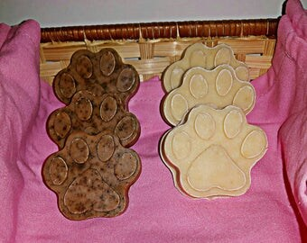 Paw Print Soap // Natural and Handmade // Skin Nourishing // Gentle Cleansing // Gift // Pure // Exfoliate // Pet Lover // Coffee // Cute