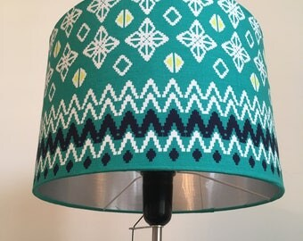 Silver lined lampshade - fabulous Ikat fabric
