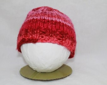 Hand Knitted Infant Hats - Red/Pink