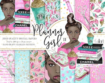Planner Girl Digital Paper Pack, African American Girl Hand Drawn Watercolor Fashion Illustration, Planner Stickers, Seamless Patterns