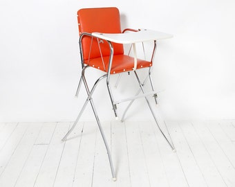 Vintage Decor-Orange high chair from the Seventies