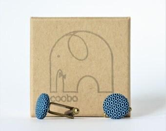 Mens Cufflinks, blue patterned cufflinks, silk cotton cufflinks, fabric cufflinks, wedding, gift for him, button cufflinks