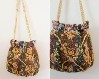 1950's Beaded Tapestry Evening Bag with Rope Handles
