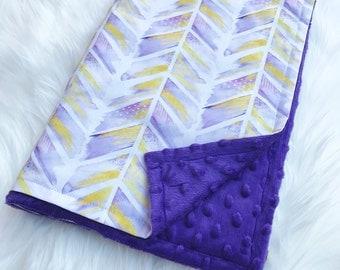 Chevron Stroller Blanket, baby blanket, purple blanket, bassinet blanket, car seat blanket, minky blanket, girl blanket