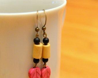 Fun Cute Earthy Boho Colorful Dangle Leaf Earrings (Pink, White, Black)