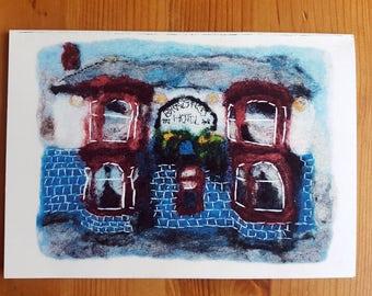 Felt art A6 greeting card - The Broadfield, Sheffield