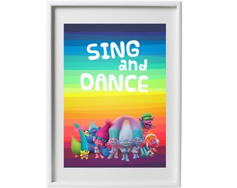 Trolls poster, Sing and dance printables poster, Sing and Dance wall art, Trolls party poster, Trolls birthday banner - Instant Download