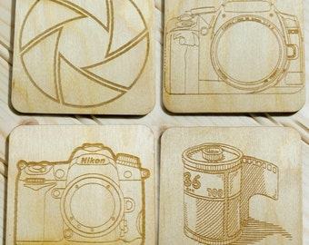 Camera coasters, perfect for any photographer or photography company,