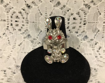 Easter Bunny/Bunny/Rabbit Rhinestone Adjustable Ring