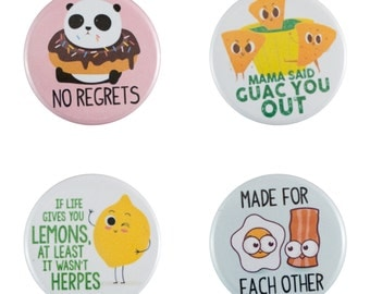 "Funny Food 8 Pack of 1.25"" Button Pins"
