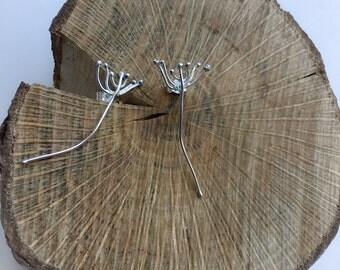 Sterling silver dandelion earrings, bud earrings, flower earrings , dandelion studs, stud earrings