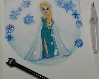 Deviantart frozen watercolor illustration markers alcohol