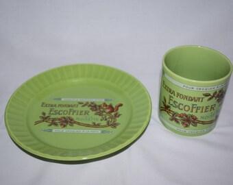 Pour croquer a la main Extra fondant escoffier french mug and plate set