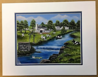 Amish Water Power Oil Painting Print