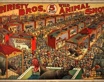 BROS Circus vintage circus poster reproduction fine art advertising illustration design