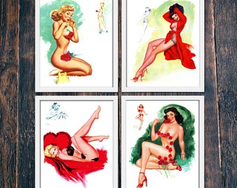 Printable Valentines Decor, Set of Four Prints, Retro Pinup Wall Art, Large Size Pin Ups, Valentine Gift for Men Download (#4857/68/74/86b)