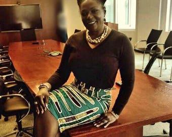 Green Stripe Ankara Fitted Pencil Skirt