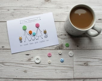 Personalised Family - Personalised Family Portrait - Family Portrait Custom - Birthday Card - Gift Ideas - Button Cards - Personalised Card
