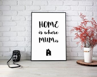 Mom is Home Digital poster For Mothers Day, Printable for mom, mothers day poster, mom Decor