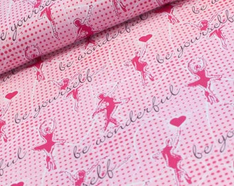 Pink Knit Fabric - Be Wonderful - Be Yourself - DANCING GIRLS - by Lillestoff - girl fabric - light pink Ballerinas -Ballerina - Ballet