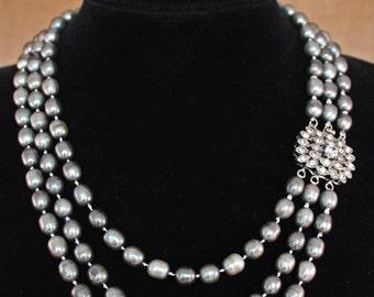 Three Strand Freshwater Gunmetal Pearl Necklace
