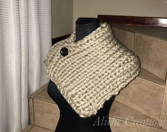 Beige Cowl with button