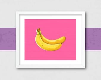 Banana Wall Art | Banana Wall Print | Banana Art Print | Printable Banana Art | Tropical Banana Print | Pink Banana Wall Art | Banana Poster