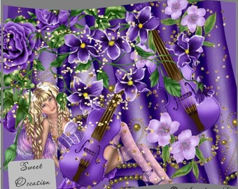 Purple Floral Violin3 Element Pack Scrapbook, Card Making Elements