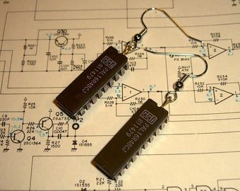 Integrated circuit earrings electronics chip Microchip computer chip geek gift geekery techno techie hardware recycled upcycled