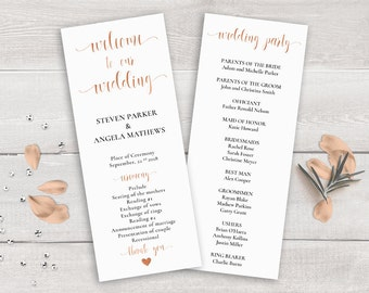 Rose Gold Wedding Program Template, Order of Ceremony Printable, Wedding Ceremony Program Rose Gold, Wedding Program Copper, Wedding Party