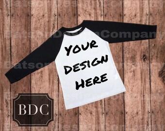 Black Sleeve Baseball Style Shirt Mockup Instant Download | T-shirt Top Mock-up Wood Background JPEG File | Commercial Use