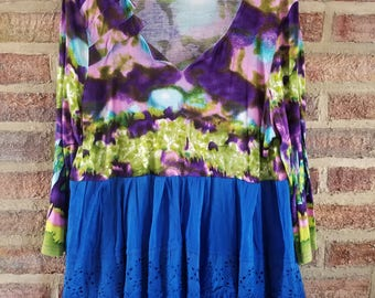 XXL - 1X Funky Plus Size Women's Tunic Smock Dress Baby Doll Reconstructed Upcycled Clothing